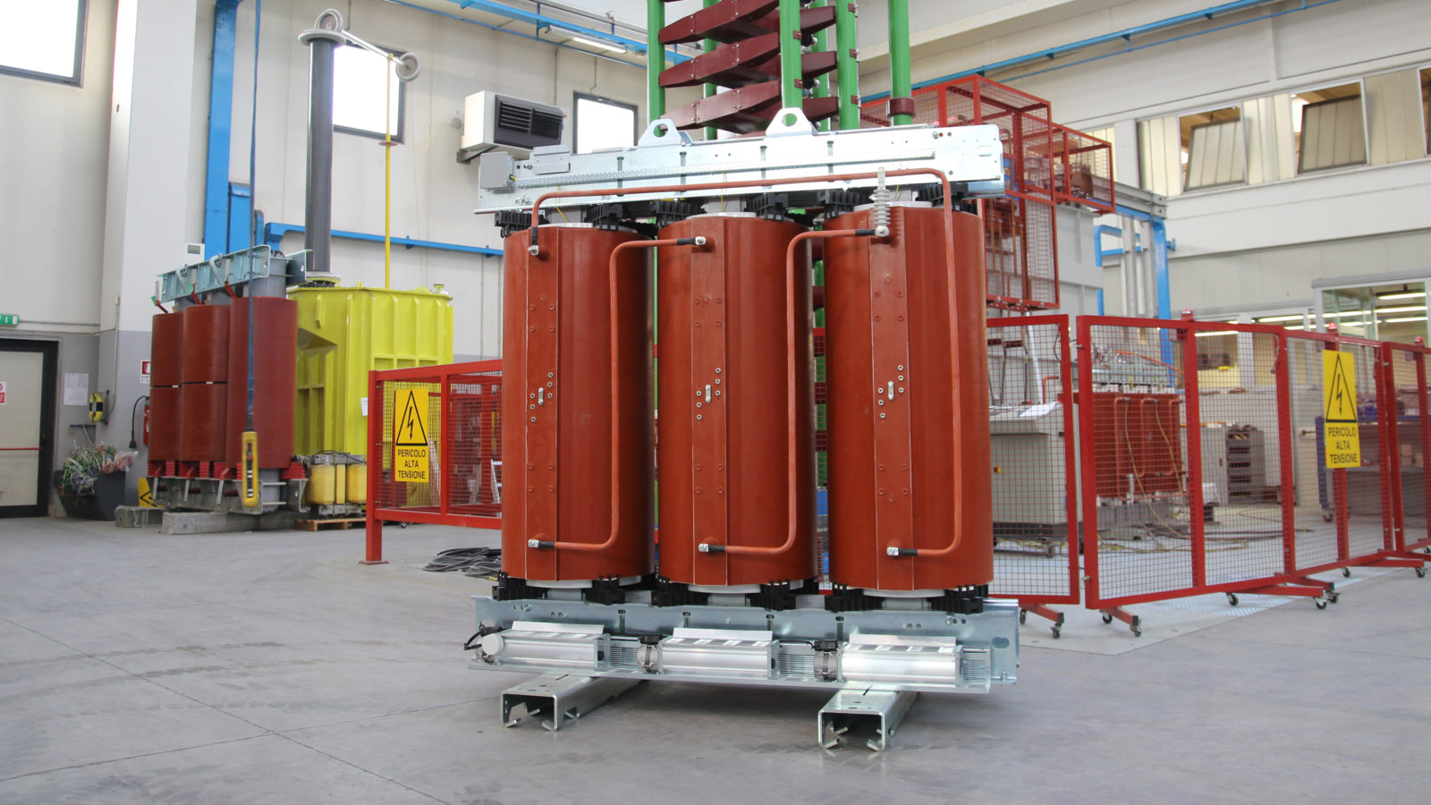 Cast resin transformer with forced cooling system